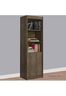 Estante Para Livros 2 Portas 4 Prateleiras 1075R Mocaccino Rústico - Atualle Móveis
