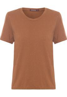Camiseta Feminina Basique Botone - Marrom
