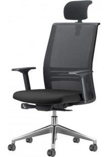 Cadeira Agile Presidente Com Encosto De Cabeca E Ajuste De Profundidade Assento Courino Preto Base Aluminio Piramidal E Rodizio Em Nylon - 55707 Sun House
