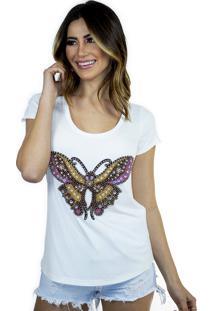 T-Shirt Cavallari Borboleta Off White