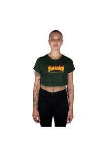 Camiseta Thrasher Magazine Flame Logo Crop Feminina Verde
