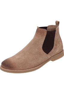 Botina Chelsea Boots Atron Shoes Areia Manchada Em Couro Camurça 504 Bege
