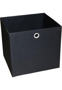 Caixa Organizadora Retangular Grande Preto 30X32X28 Cm Acasa Móveis