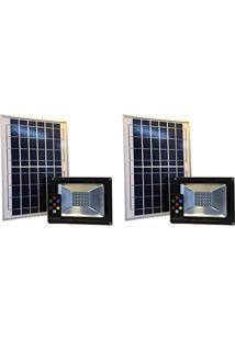 Refletor Solar Led Holofote 10W Branco Frio Kit 2