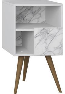 Criado Mudo Retrô Com Porta- Branco & Carrara- 71X40Bentec