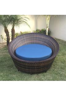 Chaise Caribe Sem Encosto - Tecido Linium Azul - Decora Na Net