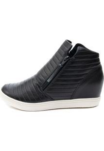 Tênis Sneaker Orcade Em Couro Com Textura Preto
