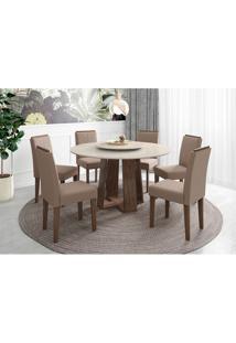 Conjunto De Mesa De Jantar Com Tampo Giratório Isabela E 6 Cadeiras Amanda Veludo Carrara E Bege