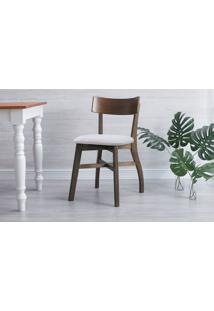 Cadeira Para Sala De Jantar Estofada Bella - Castanho E Cinza Claro Tec. B200 - 44X51X82 Cm