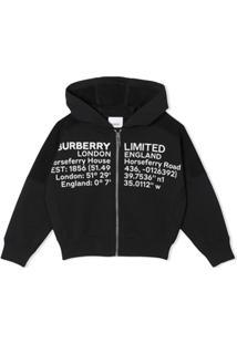 Burberry Kids Moletom Com Capuz E Estampa De Localização - Preto