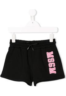 Msgm Kids Logo Drawstring Shorts - Preto