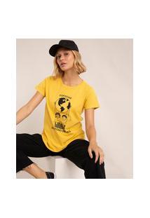 """Camiseta De Algodão """"Fofocar Gostoso Demais"""" Manga Curta Decote Redondo Mostarda"""