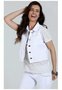 fd2a130208 Colete Feminino Jeans Strass Tachas Marisa