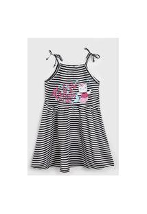 Vestido Rovitex Infantil Estampado Off-White/Preto