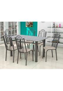 Conjunto De Mesa Luiza Com 6 Cadeiras Craqueado Preto Rattan