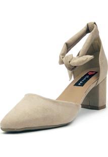 Scarpin Aberto Love Shoes Bico Fino Amarração Areia - Kanui