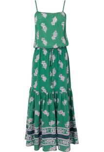 Vestido Mídi Seda Mix Flower - Verde