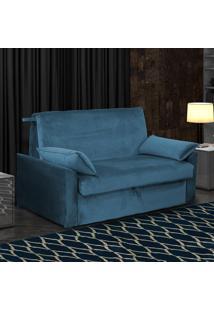 Sofá Cama 2 Lugares Cristal 00509.0433 Azul Escuro/Veludo - Matrix