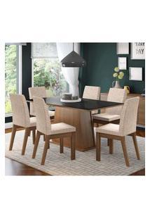 Conjunto Sala De Jantar Madesa Milena Mesa Tampo De Vidro Com 6 Cadeiras Marrom