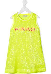 Pinko Kids Vestido Com Logo Bordado De Paetês - Amarelo