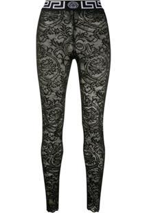 Versace Lace Leggings - Preto