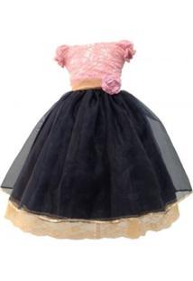 Vestido De Festa Liminha Doce Infantil Rosa Com Laço Dourado