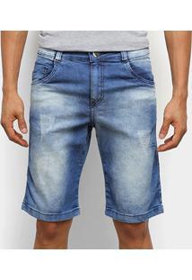 Bermuda Jeans Ecxo Estonada Masculina - Masculino-Azul