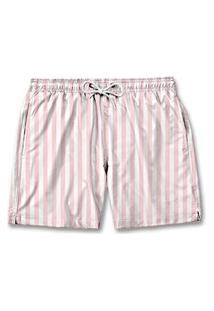 Bermuda Short Masculino Tactel Praia Com Bolsos Listrado - Rosa