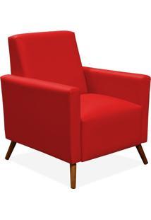Poltrona Decorativa Para Sala De Estar Pés Palito Liz Corino Vermelho - Lyam Decor