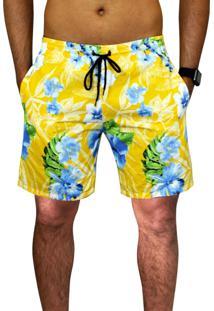 Bermuda Praia Estampada Floral Amarela Tactel Verão C/ Bolsos Laterais Ref.394.9