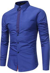Camisa Masculina Slim Manga Longa - Azul P
