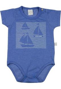 Body Infantil Ano Zero Malha Poá Híbrido Barquinhos Masculino - Masculino-Azul