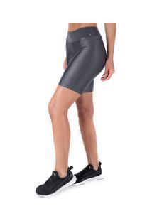 Bermuda Com Proteção Solar Uv Oxer Essential High - Feminina - Cinza Escuro