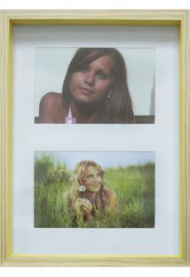 Quadro Para Fotos Wood Natural E Amarelo 20X30Cm