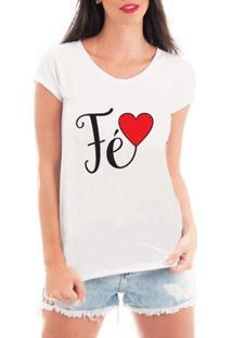 Camiseta Criativa Urbana Fé Love Gospel Textos - Feminino-Branco