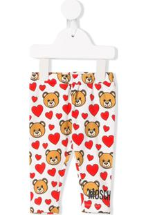 Moschino Kids Toy Heart Print Leggings - Branco