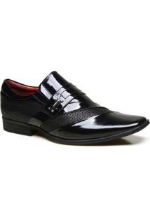 Sapato Social Calvest Em Couro Com Textura Nbo E Verniz - Masculino