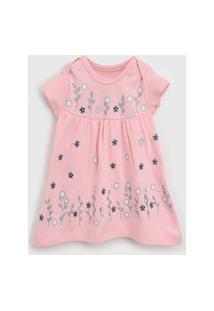 Vestido Brandili Infantil Floral Rosa