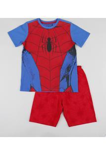 Pijama Infantil Homem Aranha Manga Curta Azul Royal