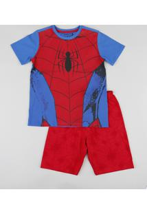 Pijama Infantil Homem Aranha Estampado Manga Curta Azul Royal