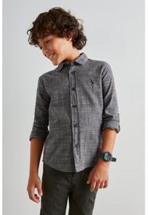 Camisa Infantil Mini Pf Principe De Gales Reserva Mini Masculina - Masculino-Preto