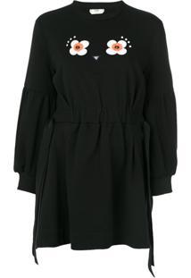 Fendi Vestido Com Bordado Floral - Preto