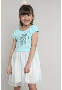 Vestido Infantil Frozen Com Tule Estampado Manga Curta Azul Claro