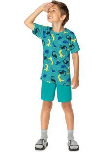 Pijama Verde Dino Brilha No Escuro Menino