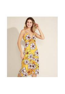Vestido Feminino Midi Estampado Floral Com Recorte Vazado Decote V Alças Finas Amarelo