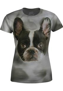 Camiseta Baby Look Buldogue Francês Over Fame Cinza