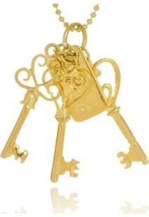 Colar Le Diamond Chaves E Placa Love Dourado - Feminino