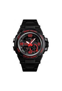 Relógio Skmei Digital -1452- Preto E Vermelho