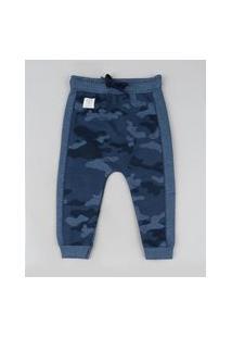 Calça De Moletom Infantil Saruel Estampada Camuflada Azul Marinho