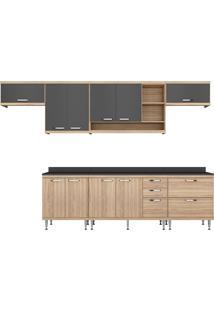 Cozinha Compacta Com 5 Peças 2892-Multimóveis - Argila / Grafite